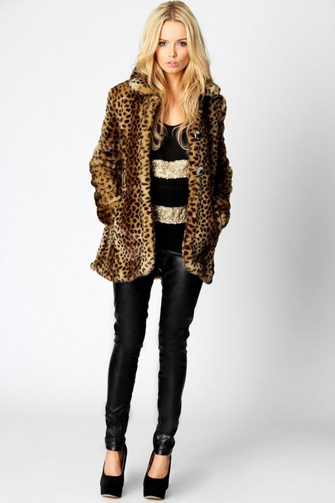 Palton pentru iarna leopard print