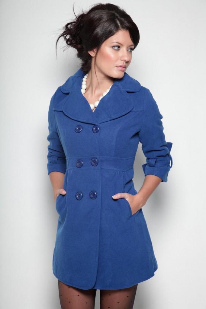 Palton albastru pentru iarna cu maneci trei sferturi