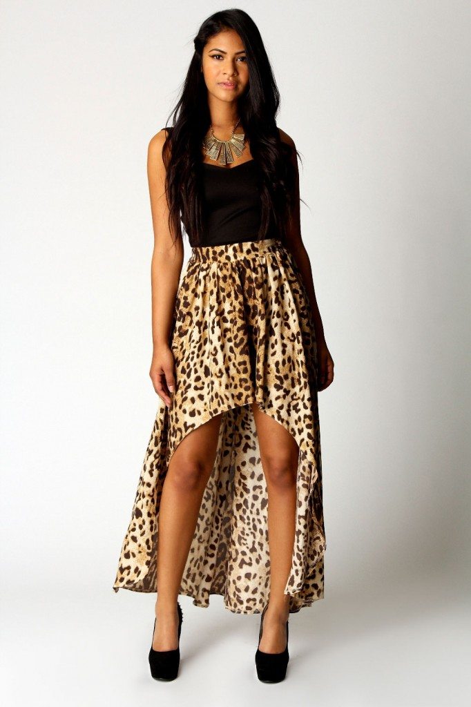 fusta cu trena leopard print