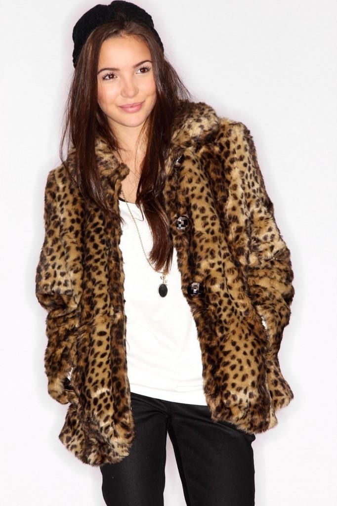 palton blana animal print