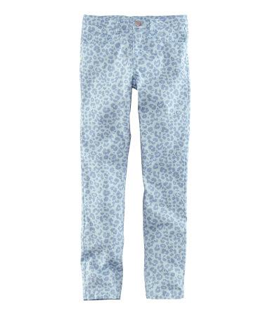pantaloni leo print bleu