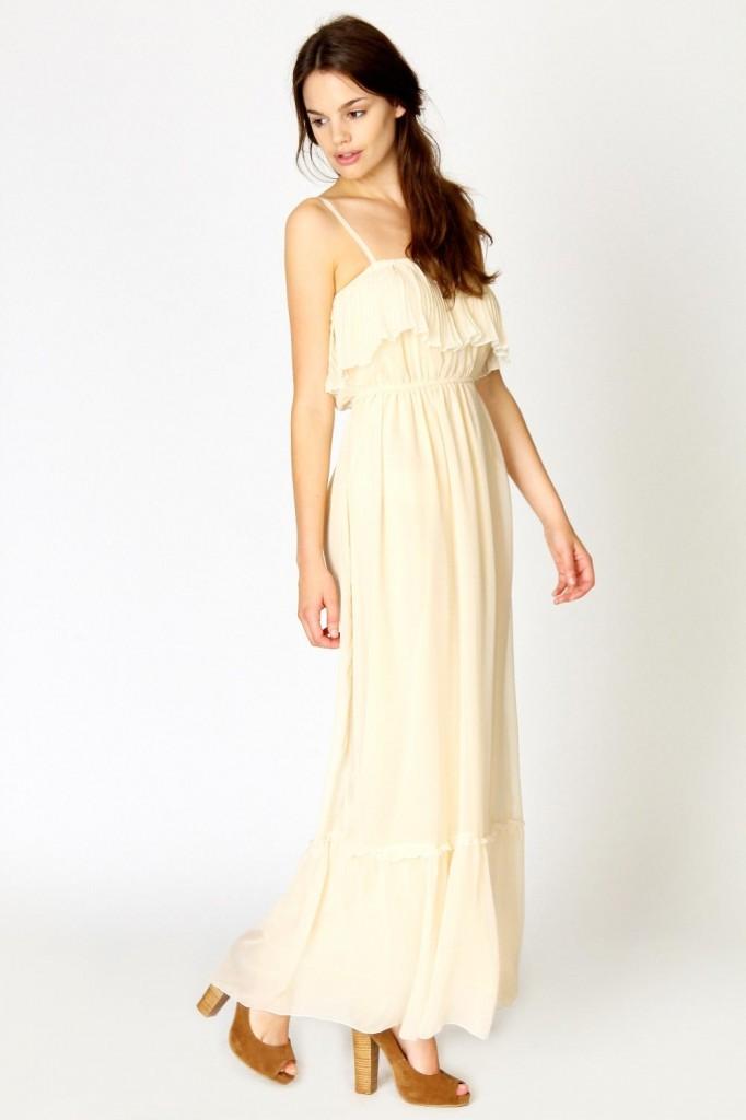 rochie maxi crem
