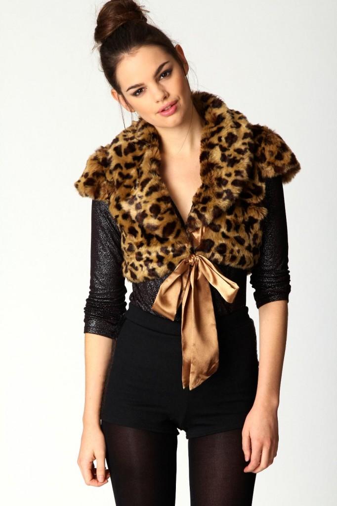 vesta din blana leopard print